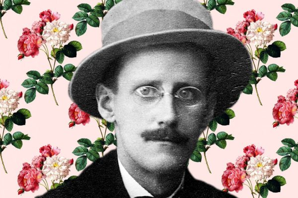 James Joyce in front of a flowery background