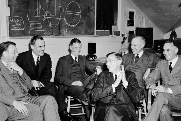 Leaders of the S-1 project, consider the feasibility of the 184-inch cyclotron at Berkeley, March 29, 1940. Left to right: E.O. Lawrence, Arthur Compton, Vannever Bush, James B. Constant, Karl Compton, Alfred Loomis.
