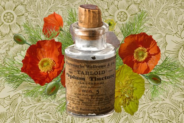 An empty bottle for opium tincture
