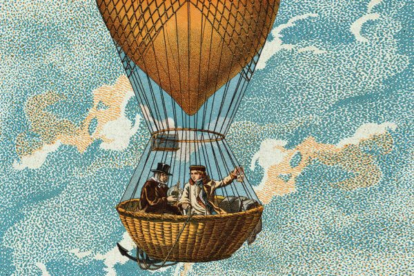 Two scientists in a hot air balloon