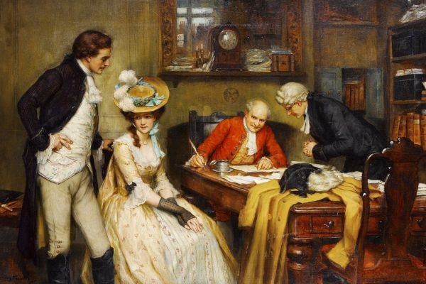 Signing the marriage contract by George Sheridan Knowles, 1905