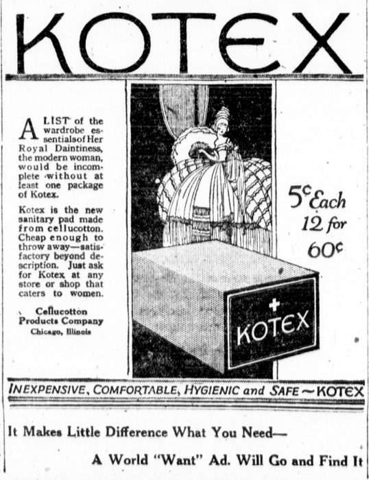 A Kotex newspaper ad from the 1920s