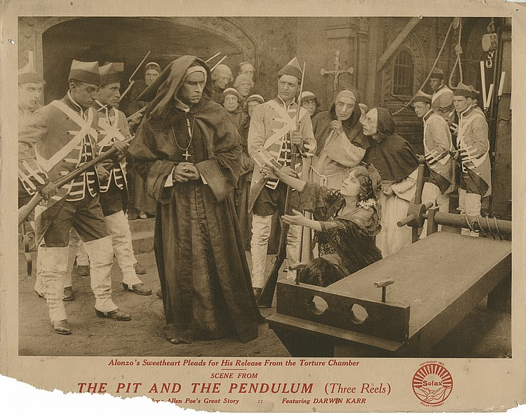 Lobby card for the silent film The Pit and the Pendulum directed by Alice Guy-Blaché, 1913