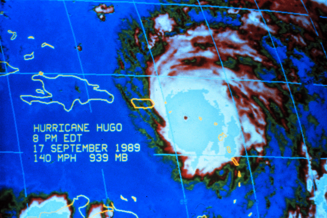 Enhanced infrared imagery of Hurricane Hugo