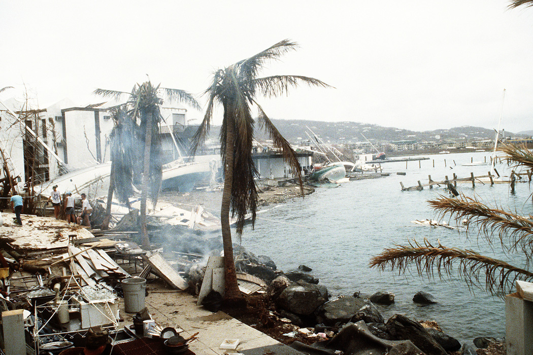 A view of coastal damage done by Hurricane Hugo at Saint Croix, Virgin Islands, September 1, 1989