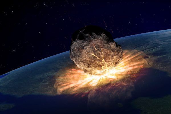 A meteor striking earth