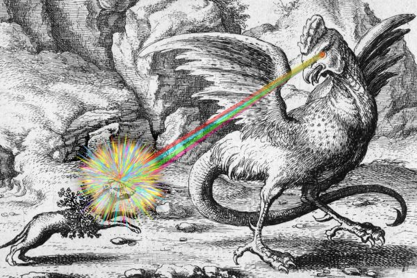 A basilisk with a beam of light extending from its eye