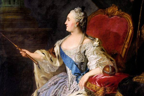 Profile portrait of Catherine II by Fedor Rokotov (1763)