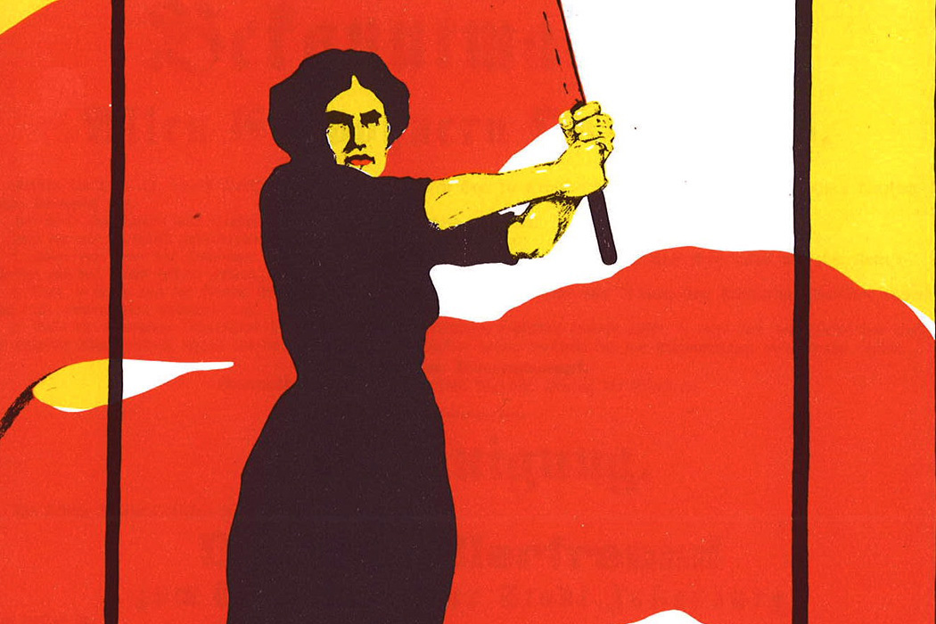 Poster for Women's Day, March 8, 1914, demanding voting rights for women.