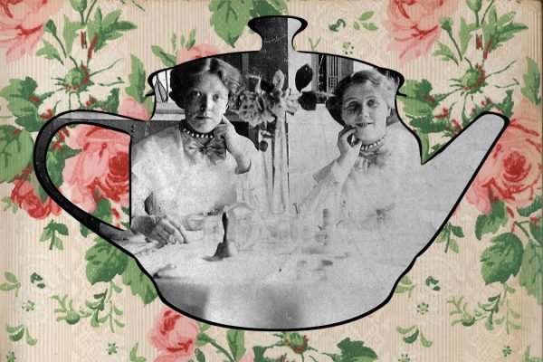 Two waitresses at Kate Cranston's Willow Tea Room