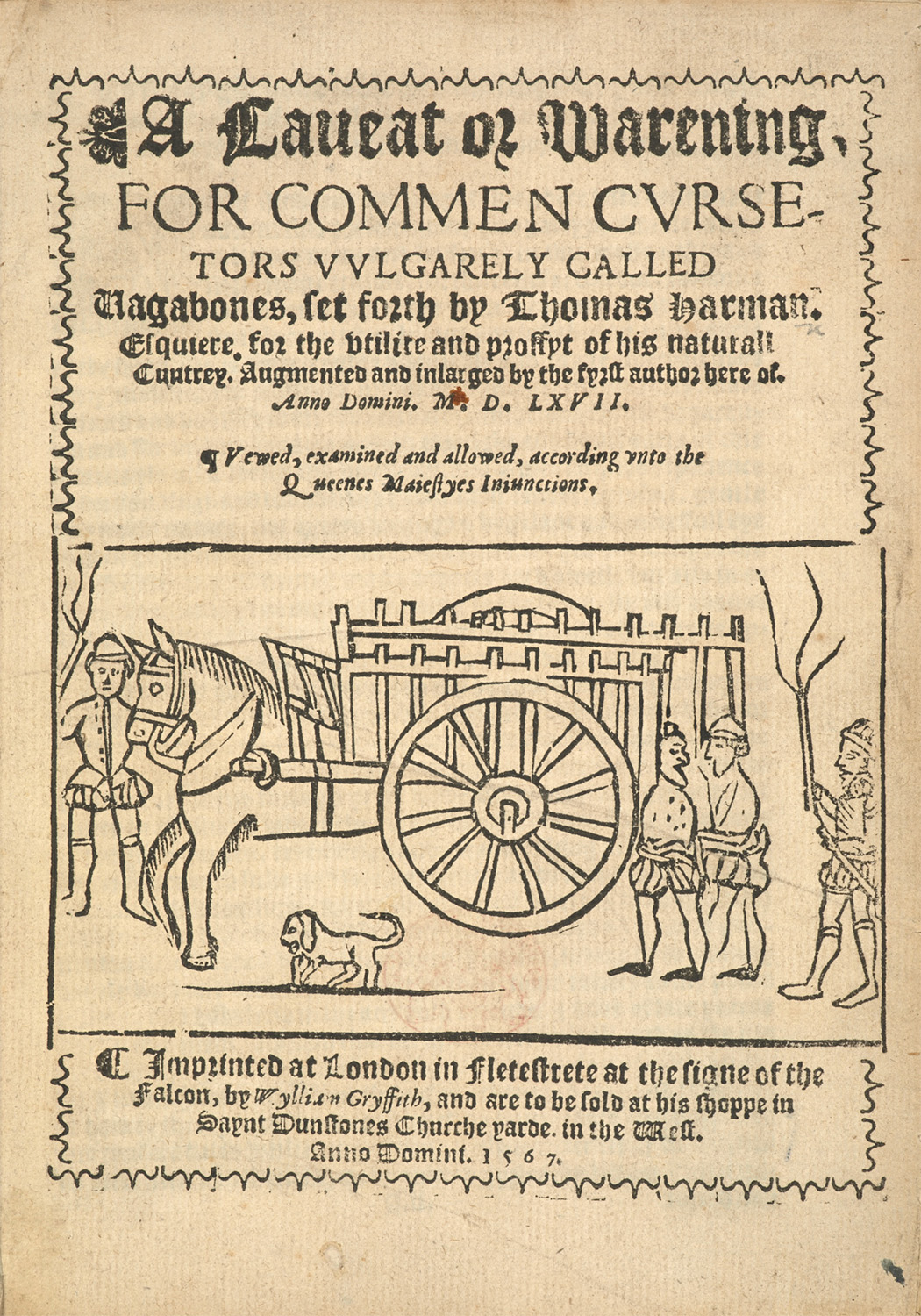 Title page of the 1567 reprint of Thomas Harman's A Caveat for Common Cursitors