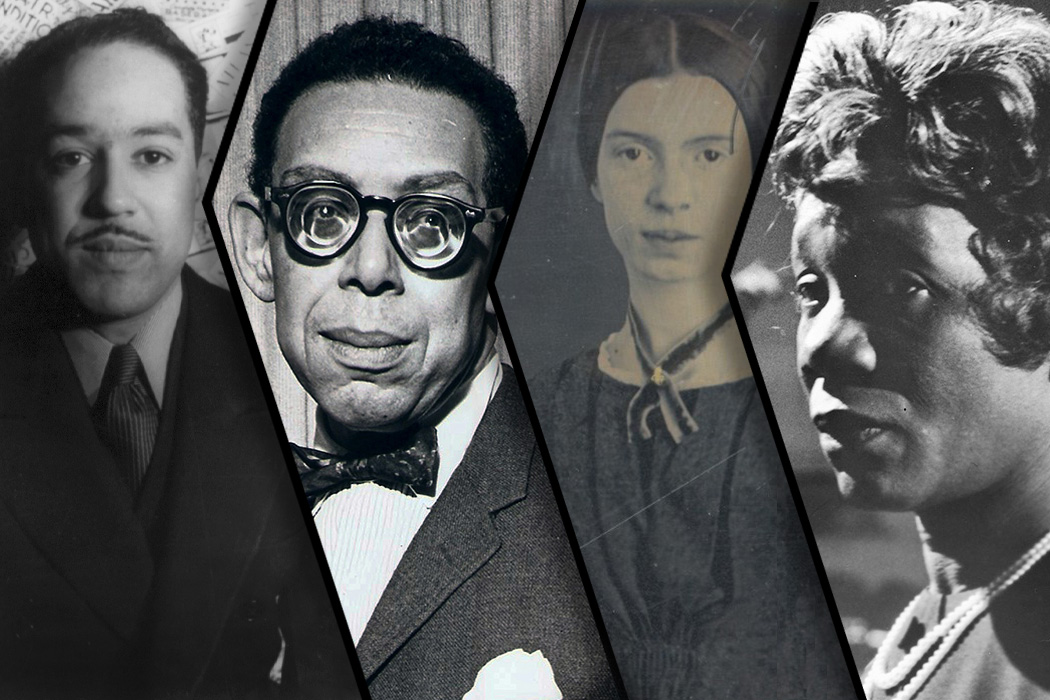 From left to right: Langston Hughes, Robert Hayden, Emily Dickinson, and Beah Richards