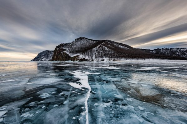 Frozen lake Baikal near Olkhon island