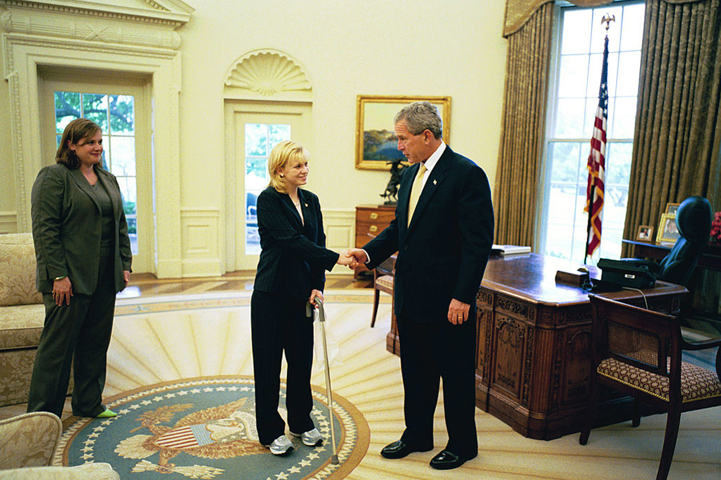 Private Jessica Lynch Meets With U.S. President George W. Bush in the Oval Office June 17, 2004