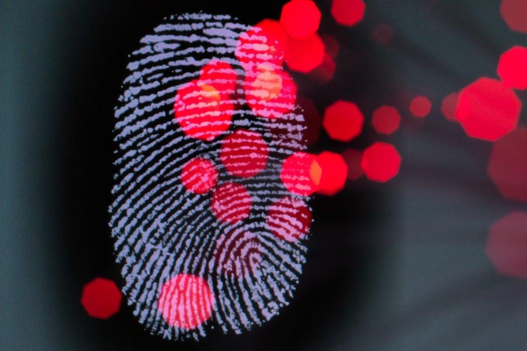 A thumbprint on a screen