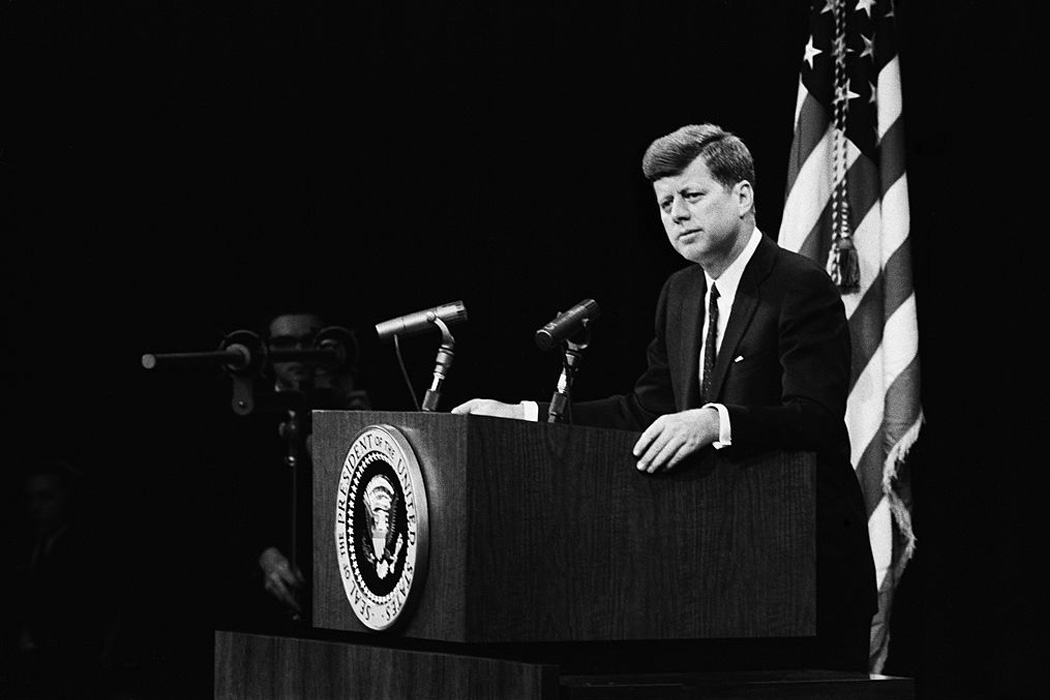 President John F. Kennedy fields a question at a press conference on April 14, 1961, in Washington, DC. This press conference took place three days before the failed 'Bay of Pigs' invasion of Cuba and just three months into Kennedy's presidency.