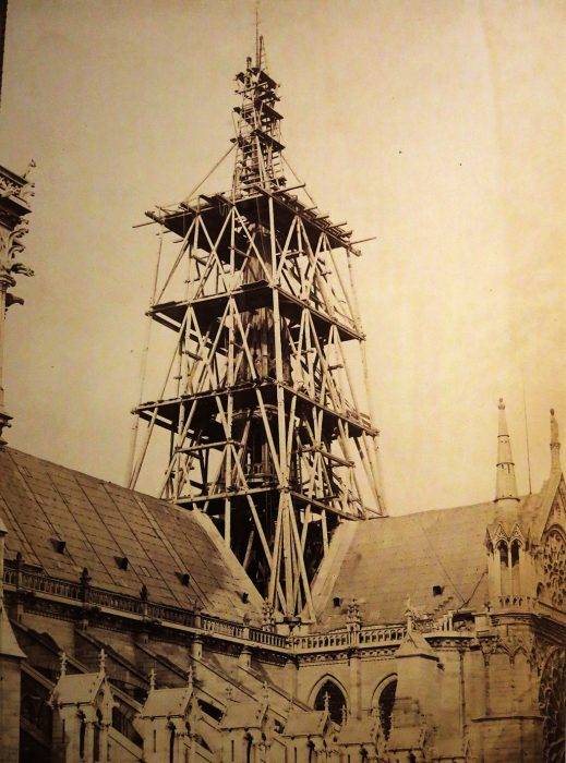 Scaffolding of the spire under construction of the cathedral of Notre-Dame de Paris, circa 1853