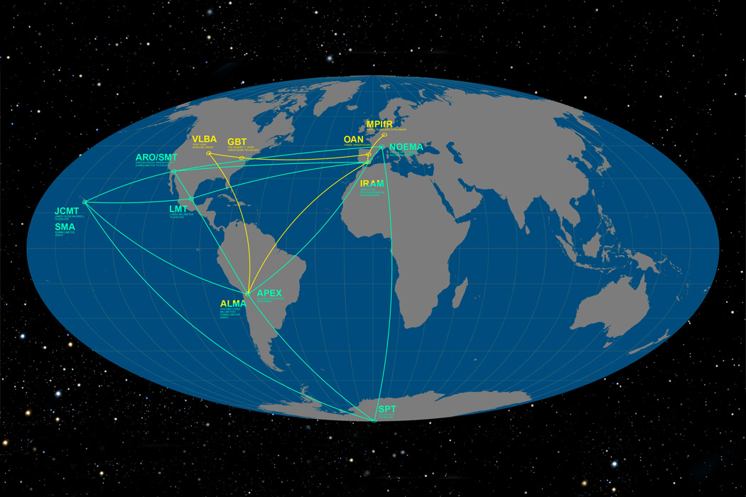 This infographic details the locations of the participating telescopes of the Event Horizon Telescope (EHT) and the Global mm-VLBI Array (GMVA).