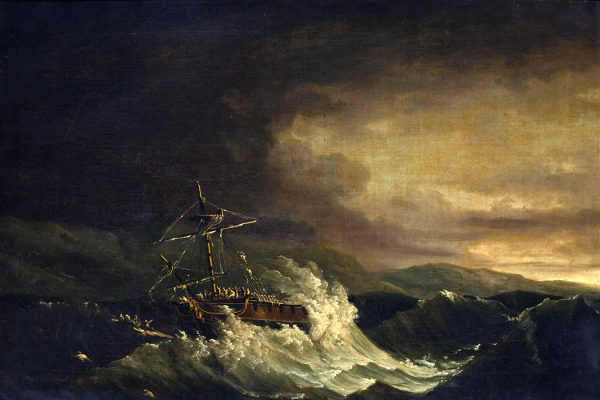 The wreck of the H.M.S. Deal Castle off Puerto Rico, in the hurricane of 1780 with the crew escaping on a raft, by John Thomas Serres