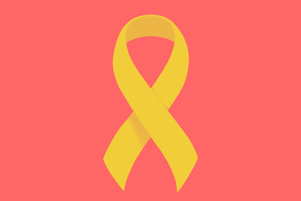 A yellow ribbon on a red background