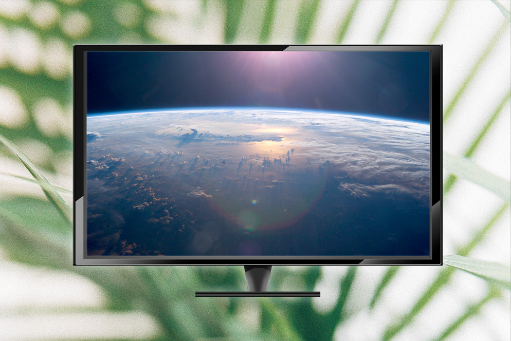 A television with an image of the earth from space, in front of a green plant background