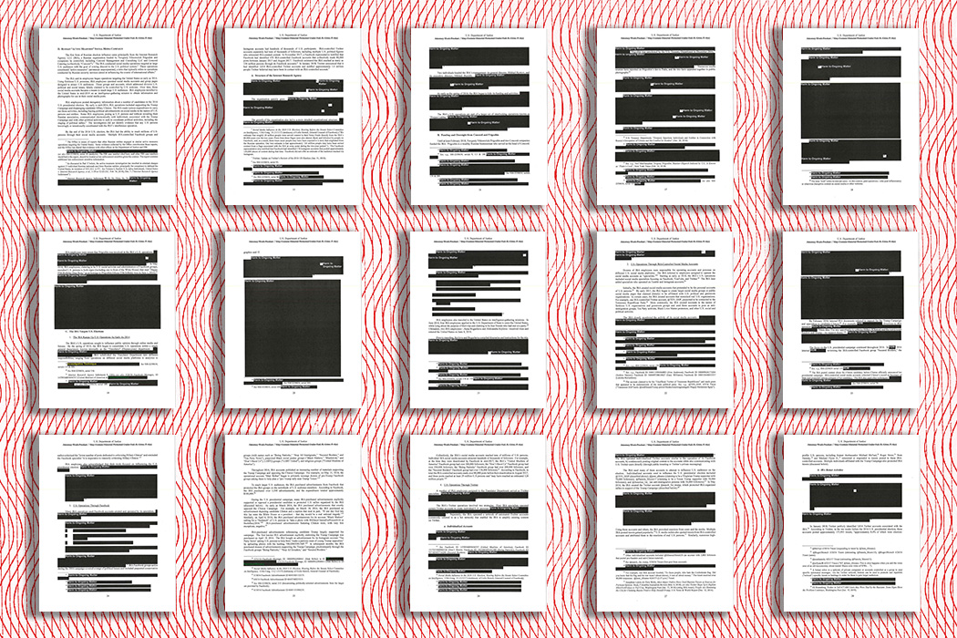 Fifteen redacted pages of the Mueller Report