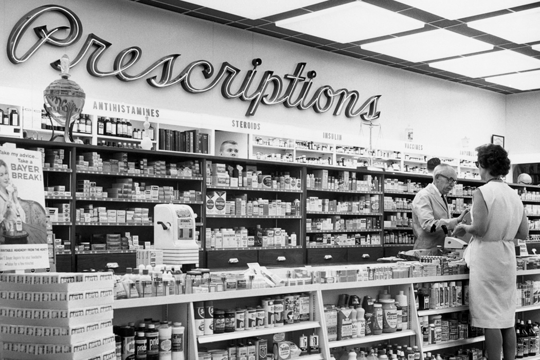 Interior of a drug store in the 1950s