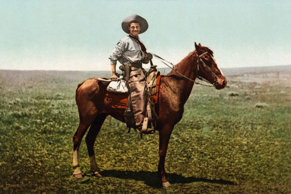 A cowboy in the western United States, between 1898 and 1905