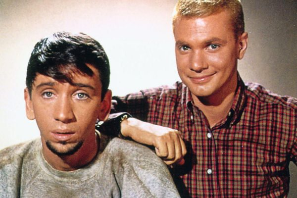 "Dwayne Hickman and Bob Denver as Dobie Gillis and Maynard G. Krebs in ""The Many Loves of Dobie Gillis"