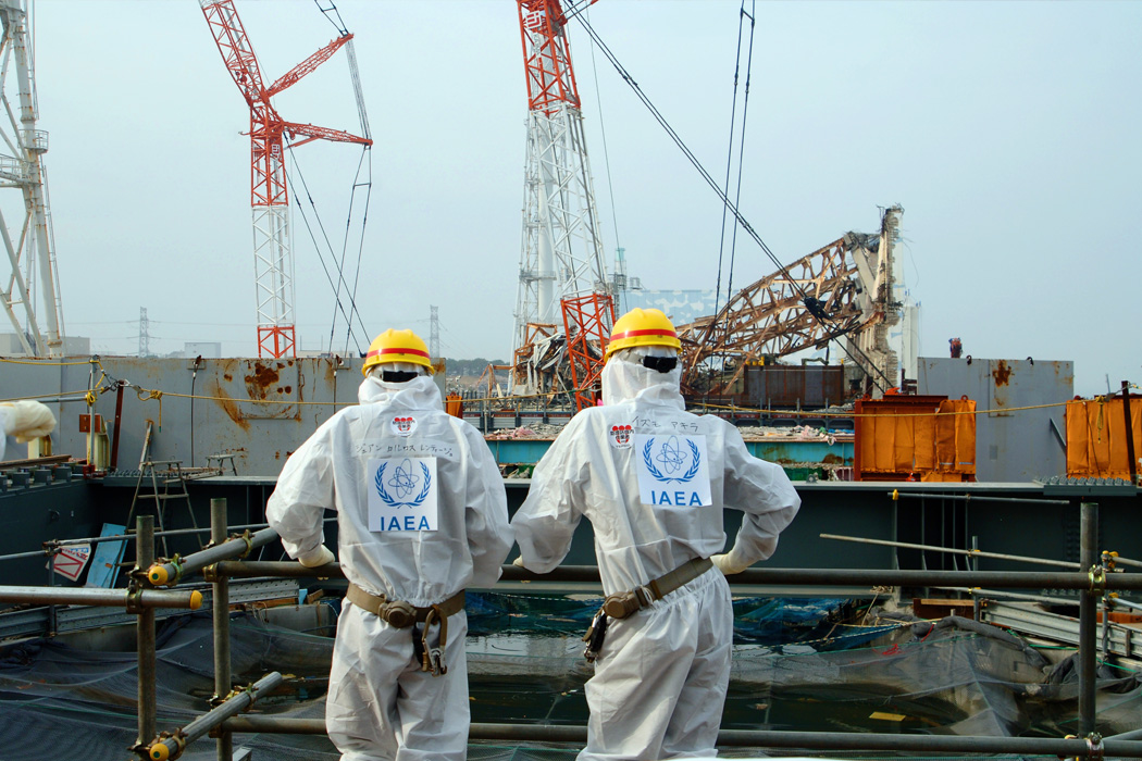 Two IAEA experts examine recovery work on top of Unit 4 of TEPCO's Fukushima Daiichi Nuclear Power Station