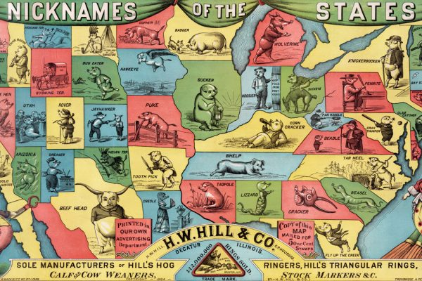 Map of the United States showing the state nicknames as hogs, 1884