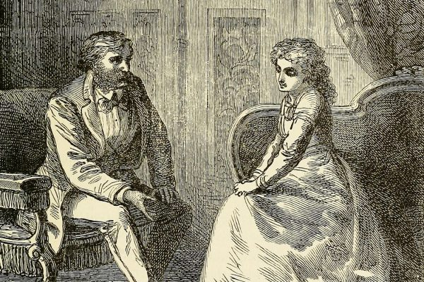 An illustration of Mormon leader James Strang speaking with a Mormon woman
