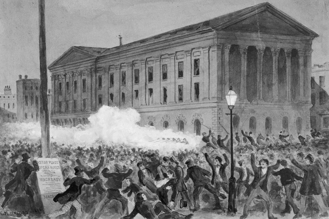 A drawing of the Astor Place Riot, 1849, by Charles M. Jenckes