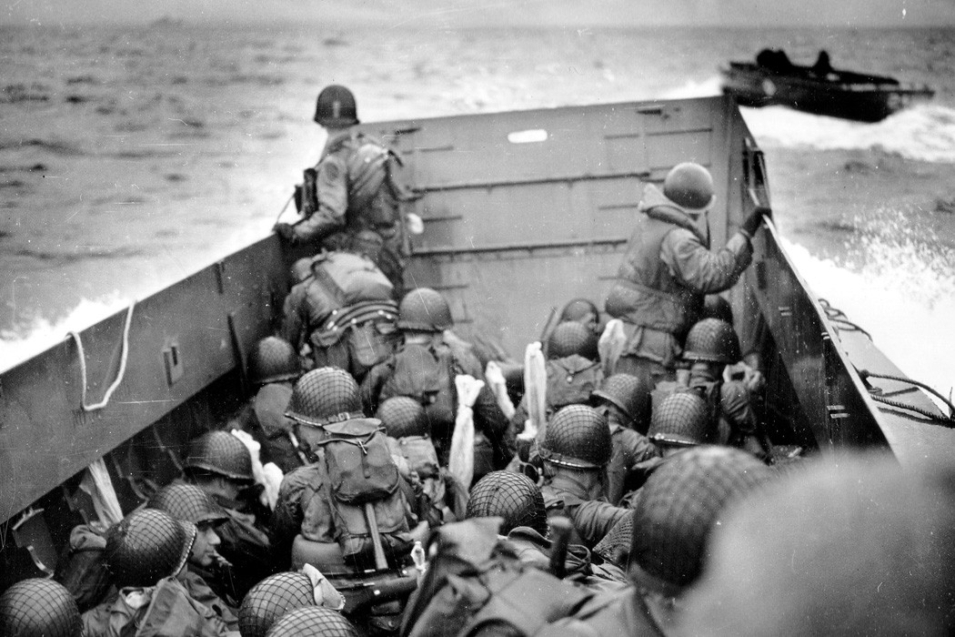 An Omaha Beach landing craft on D-Day