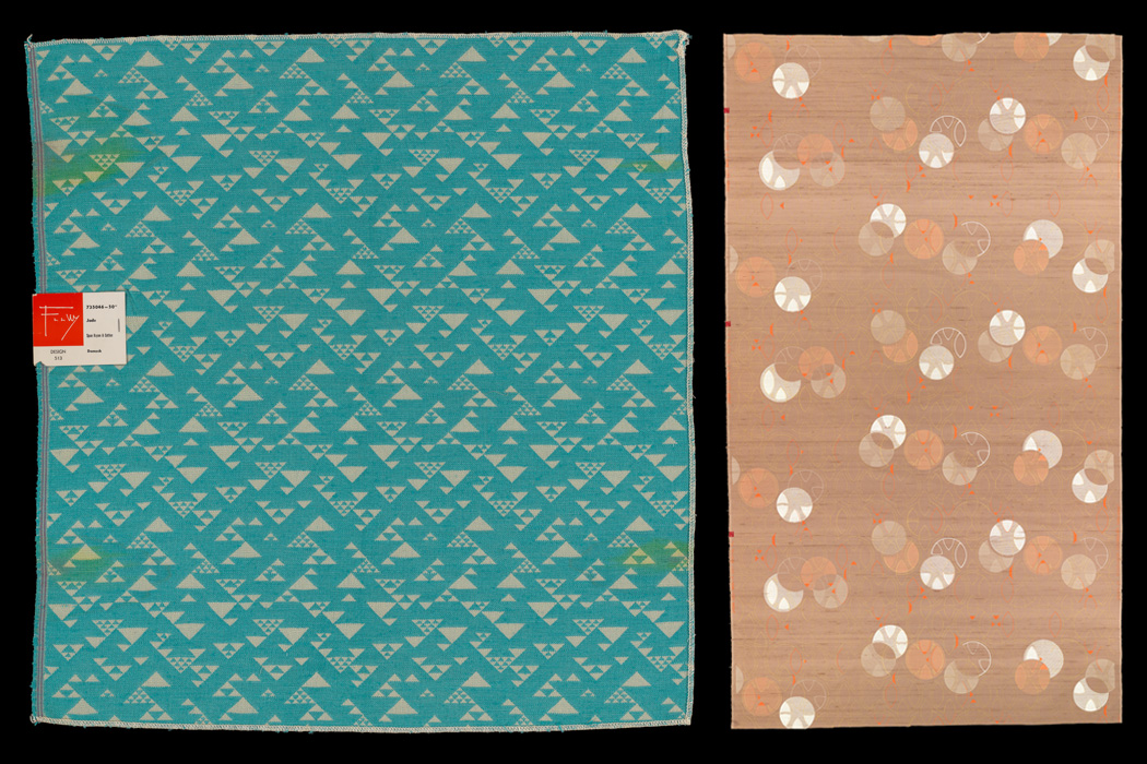 Design 513, Damask, 1956 and Design 104, Printed Silk and Fortisan Casement [curtain fabric], 1955, by Frank Lloyd Wright