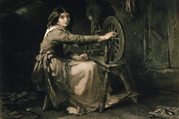 A young Irish woman working at a spinning wheel. Engraving by Francis Holl