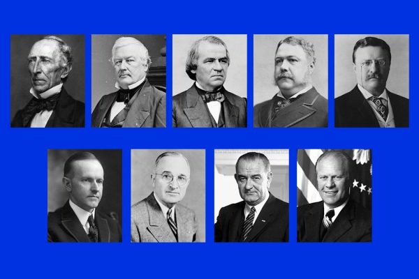 Presidents Tyler, Fillmore, Andrew Johnson, Arthur, Theodore Roosevelt, Coolidge, Truman, Lyndon Johnson, and Ford