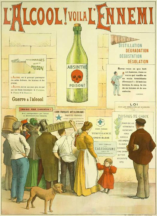 Poster warning of the dangers of absinthe and other alcoholic drinks.