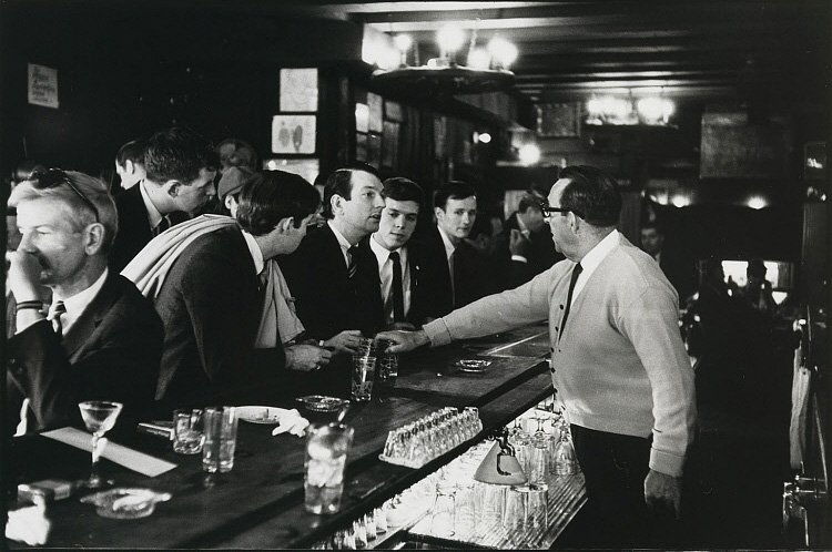"Four members of the Mattachine Society at a ""sip-in"" in 1966, demanding to be served at Julius's Bar in Greenwich Village"
