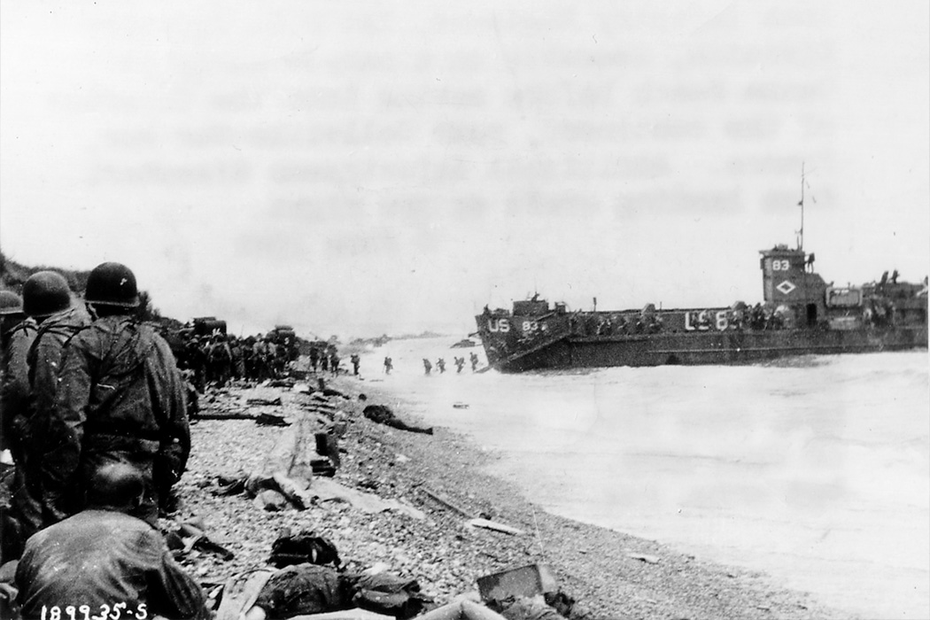 American assault troops at Omaha Beach
