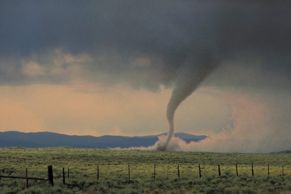A tornado in a field