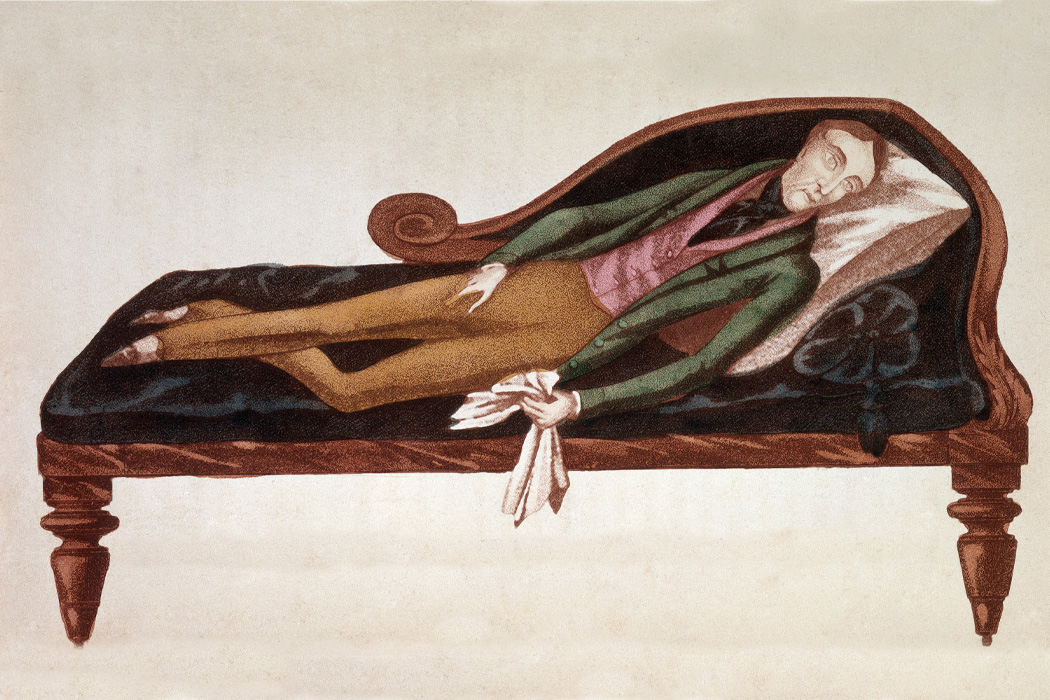 Illustration of a man lying on a couch