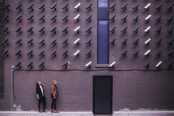 A wall of security cameras in Toronto, Canada