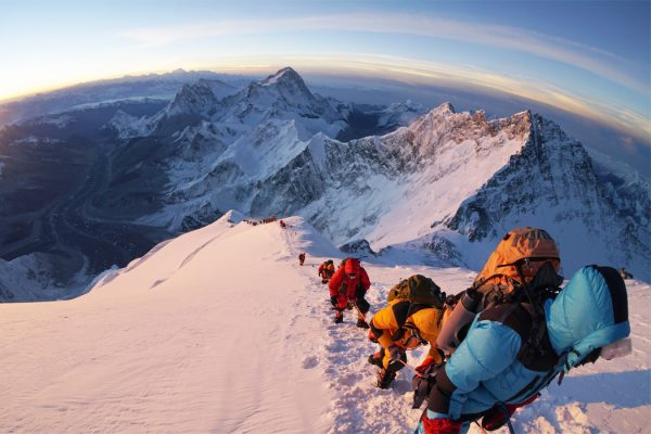 Climbers ascending Mount Everest