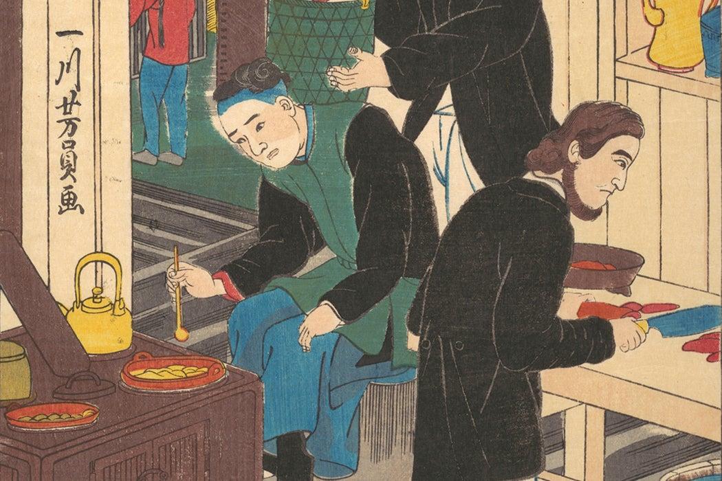 Inside a Foreign Restaurant by Utagawa Yoshikazu, 1860