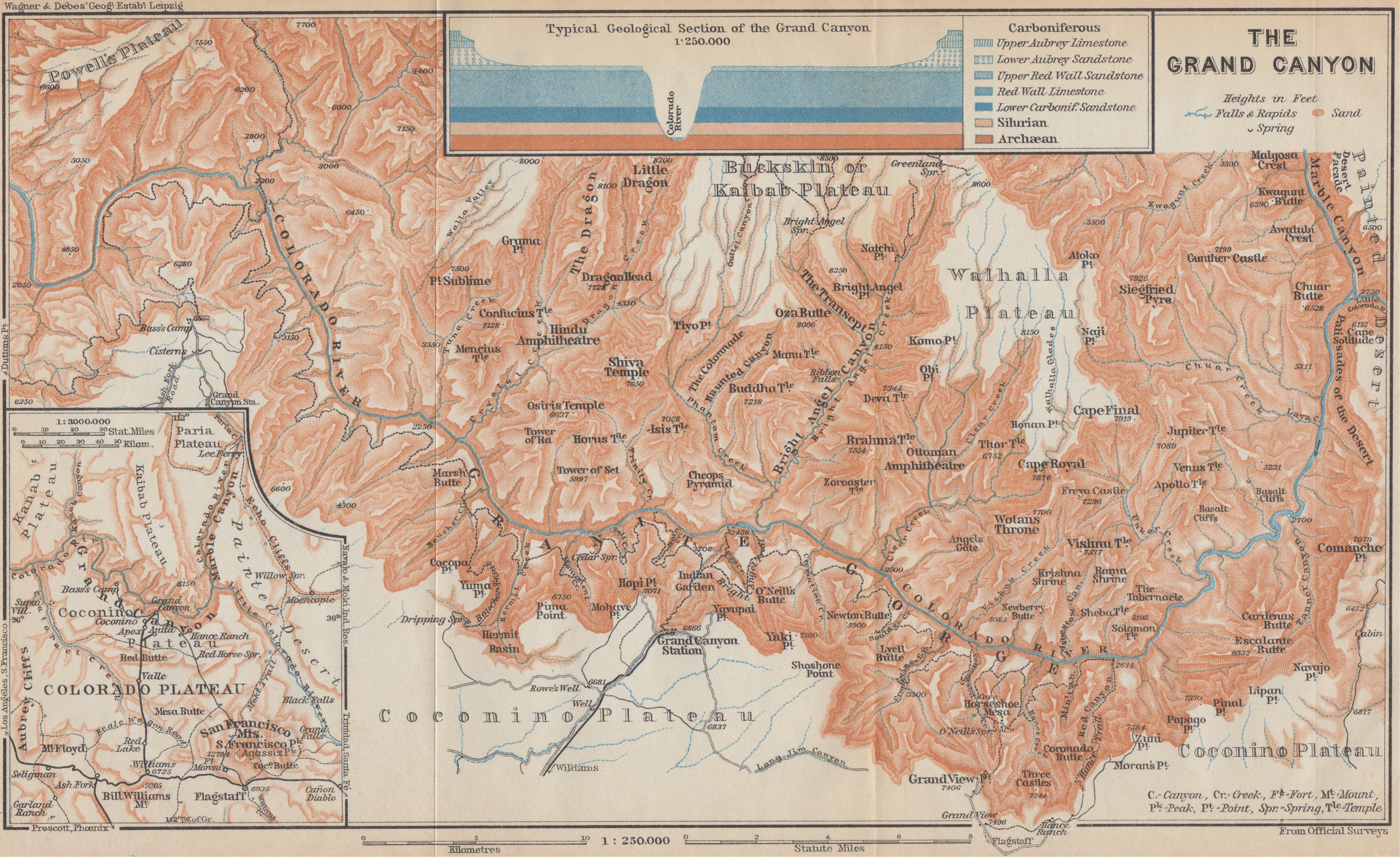 1909 city map of the Grand Canyon, USA, from Baedeker's United States Handbook for Travellers