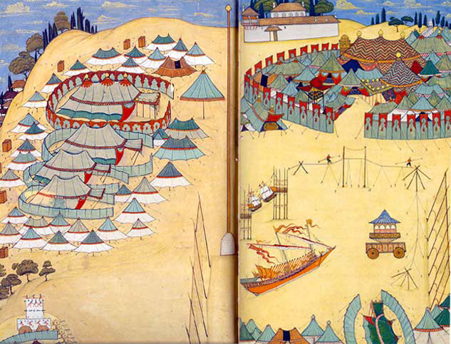 The tent-city of the Sultan by Abdulcelil Levni, 1720