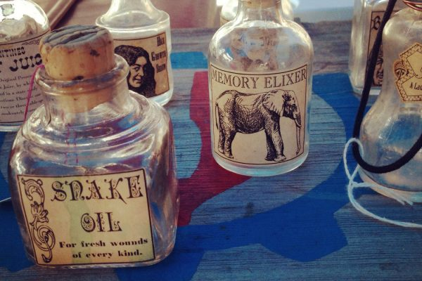 Glass bottles for snake oil and memory elixir