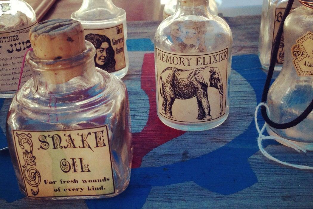 Glass bottles for snake oil and memory elixir