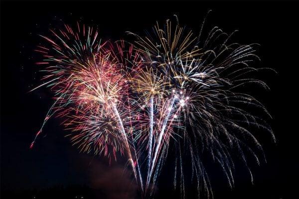 Fireworks in a dark sky